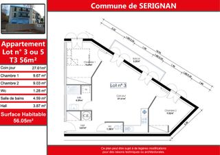 Appartement SERIGNAN 56 (34410)